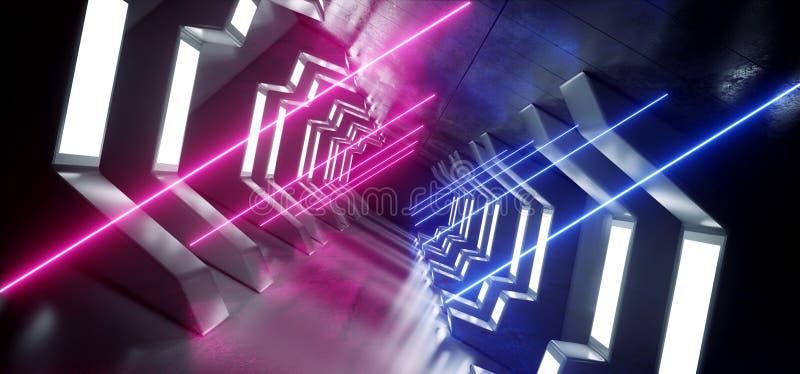太空飞船走廊霓虹发光的紫色蓝色充满活力的科学幻想小说未来派金属反射性具体走廊入口门3D翻译 库存例证