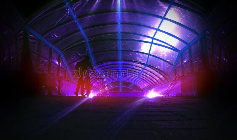 太空飞船走廊 有光的未来派隧道 空的有浅兰的光的科学幻想小说未来派暗室 免版税库存照片