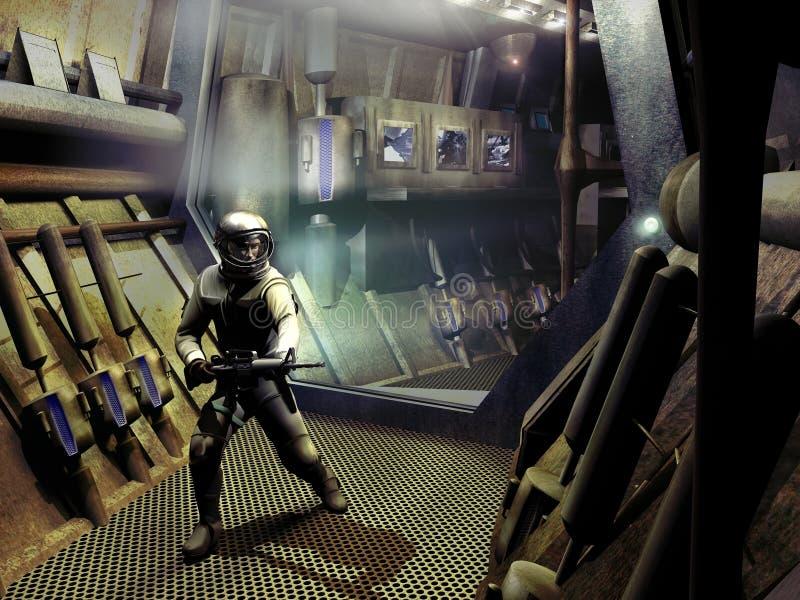 太空飞船走廊 向量例证