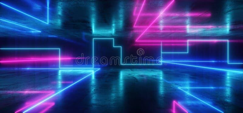 太空飞船霓虹发光点燃激光形状放光紫色蓝色充满活力的减速火箭的现代未来派科学幻想小说夜总会场面隧道 皇族释放例证