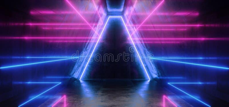 太空飞船霓虹发光点燃激光形状放光紫色蓝色充满活力的减速火箭的现代未来派科学幻想小说夜总会场面隧道 向量例证