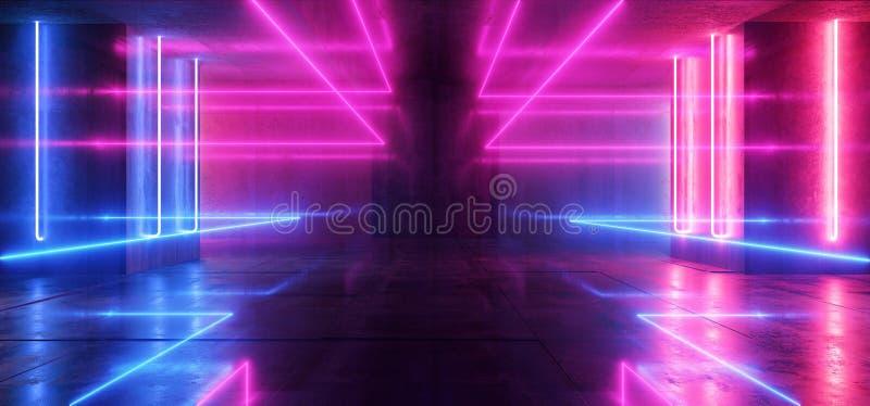 太空飞船霓虹发光点燃激光形状放光紫色蓝色充满活力的减速火箭的现代未来派科学幻想小说夜总会场面隧道 库存例证