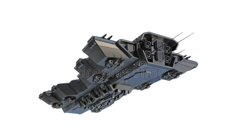 太空飞船飞行,外籍人在白色背景在飞行中隔绝的飞碟航天器,底视图,3D回报 库存例证