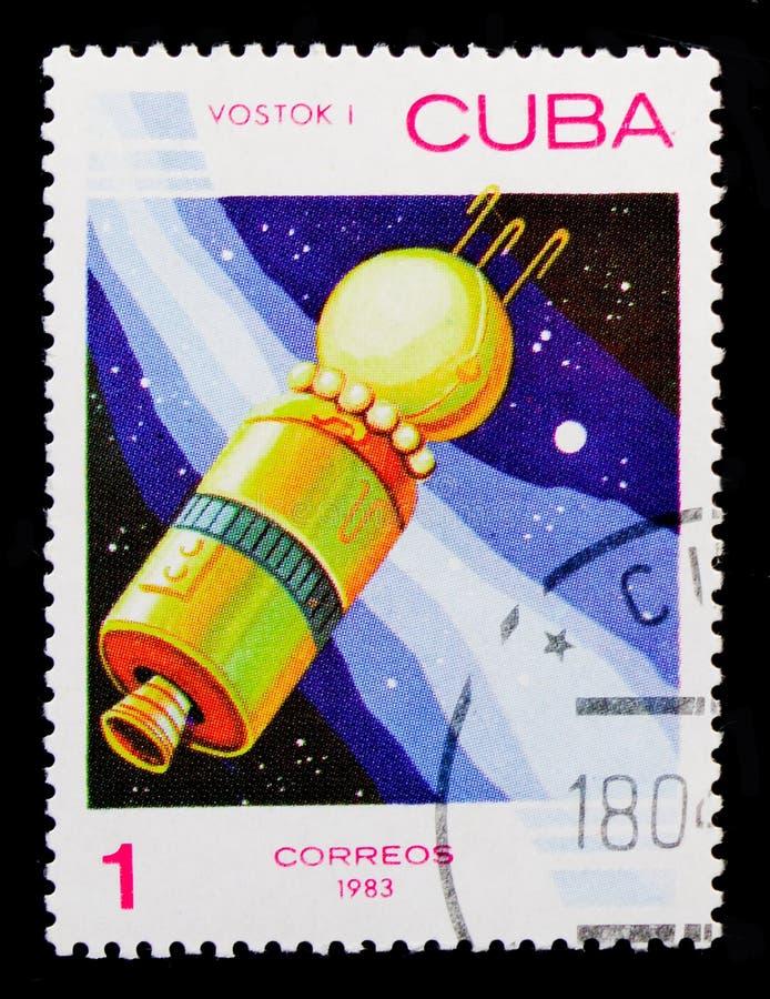 太空飞船`沃斯托克`苏联, 1961年,空间天serie,大约1983年 免版税库存照片