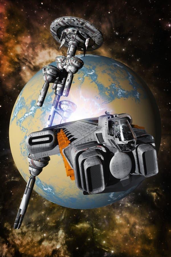 太空飞船货物和空间站 库存例证