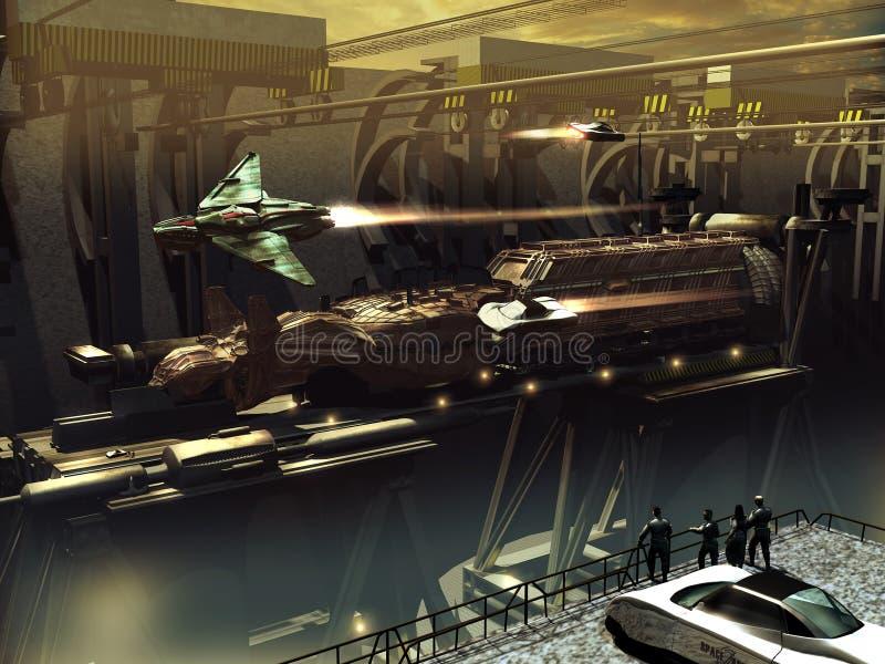 太空飞船建筑 库存例证