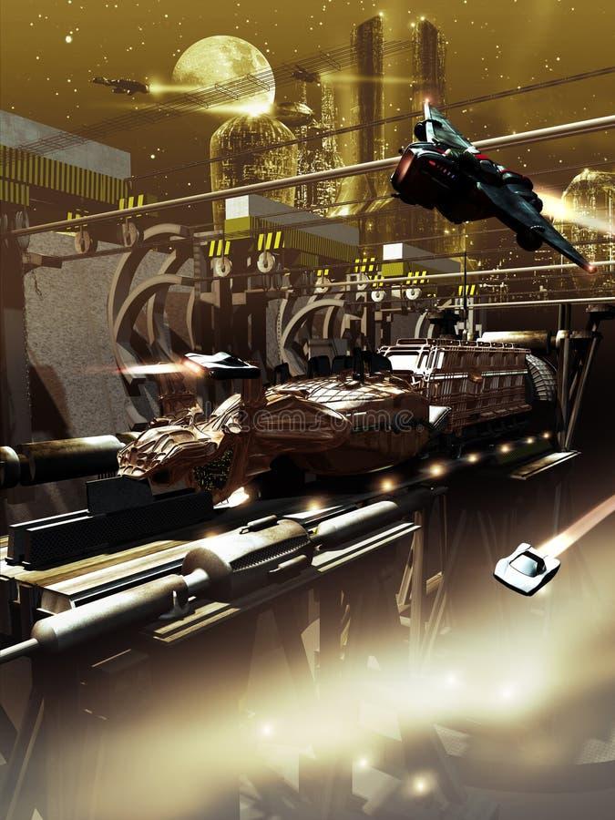 太空飞船建筑 皇族释放例证