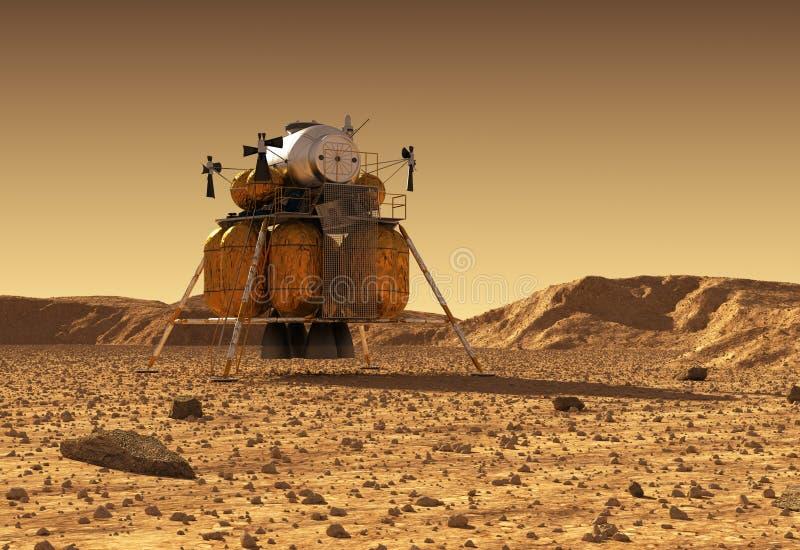 太空驻地下降模块行星火星表面上的  皇族释放例证