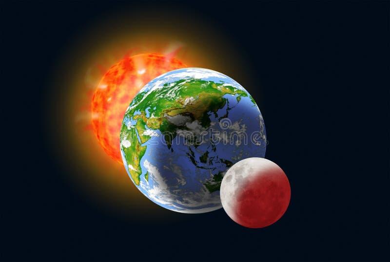 太阳、地球和月亮对准线 免版税库存图片