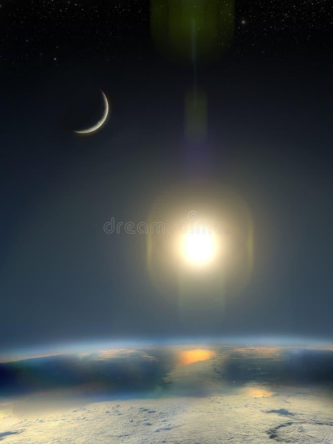 太阳、地球和月亮 向量例证