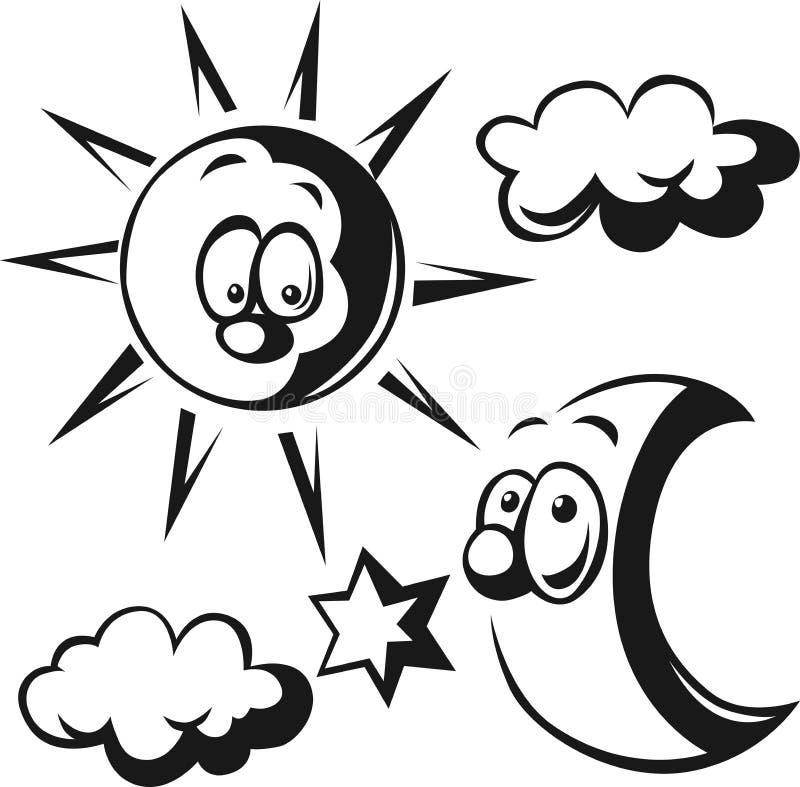 太阳、月亮、云彩和星-黑概述 向量例证