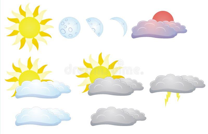 太阳、月亮和云彩 向量例证