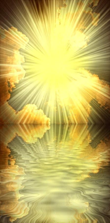 太阳、海运和云彩宗教精神 库存照片