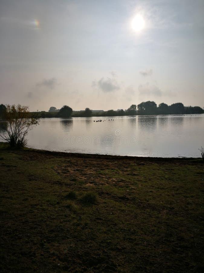 太阳上升在荷兰 库存照片