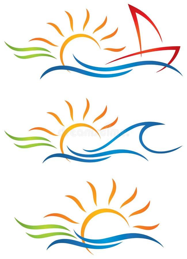 太阳乐趣商标 向量例证