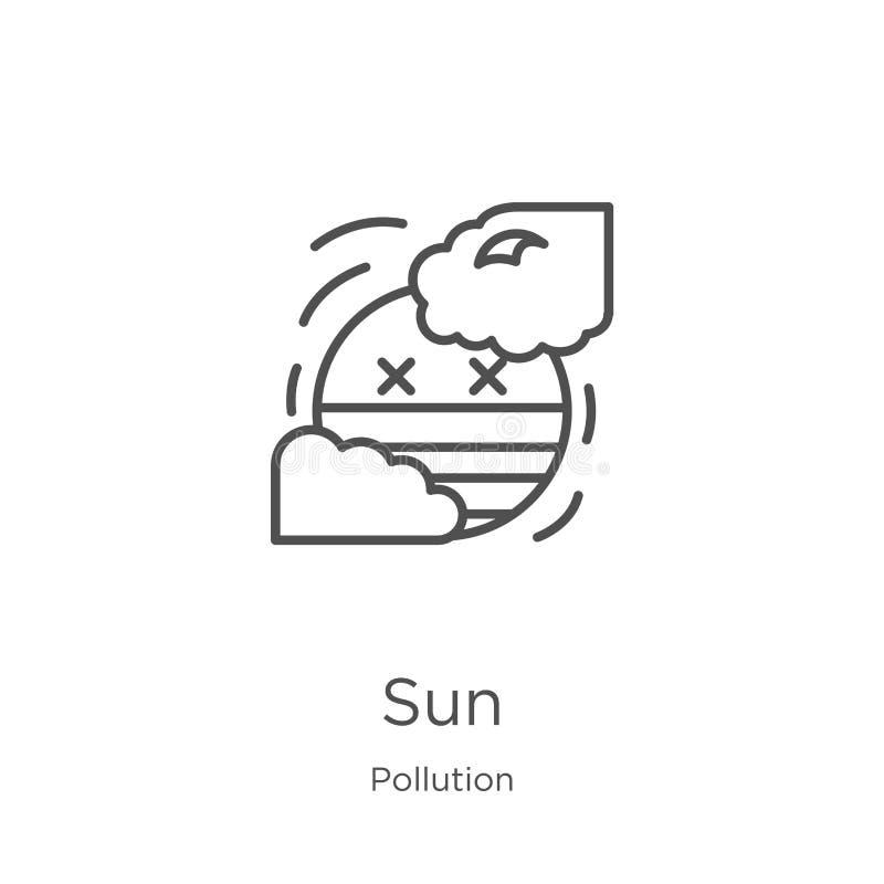 太阳从污染汇集的象传染媒介 稀薄的线太阳概述象传染媒介例证 概述,稀薄的线网站的太阳象 向量例证