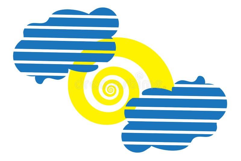 太阳作为螺旋和两镶边了云彩象 库存例证