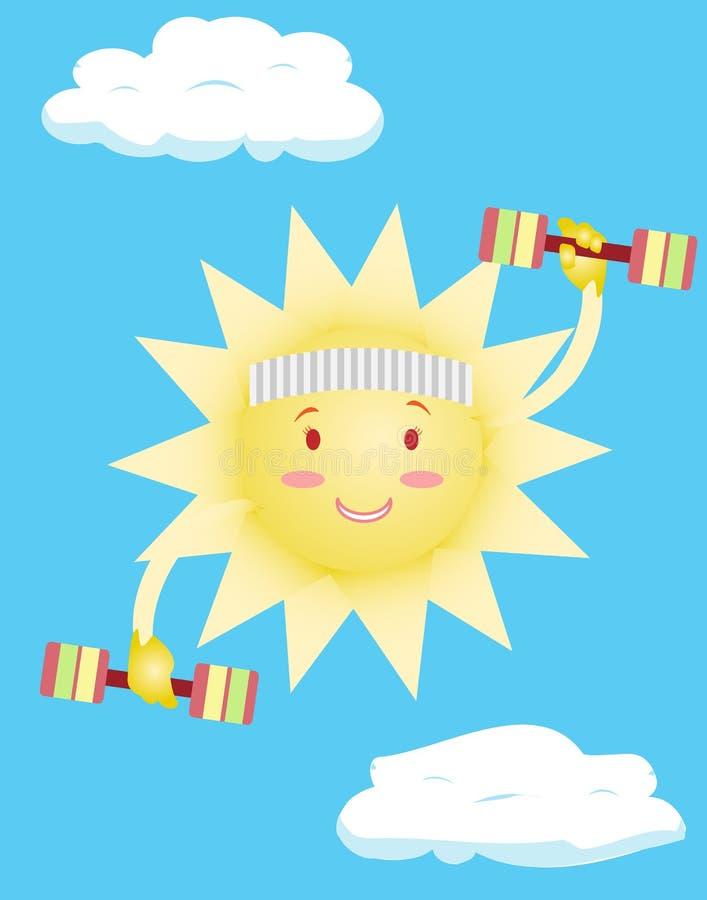太阳做身体锻炼 皇族释放例证