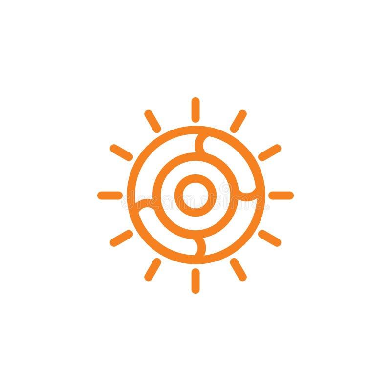 太阳光漩涡线艺术标志传染媒介 向量例证