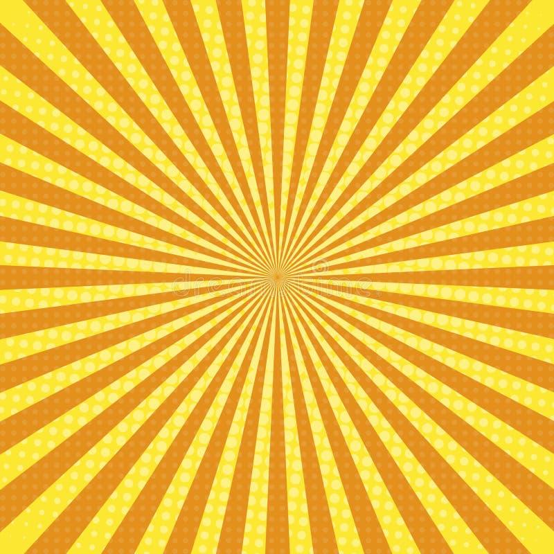 太阳光芒流行艺术减速火箭的背景 向量例证