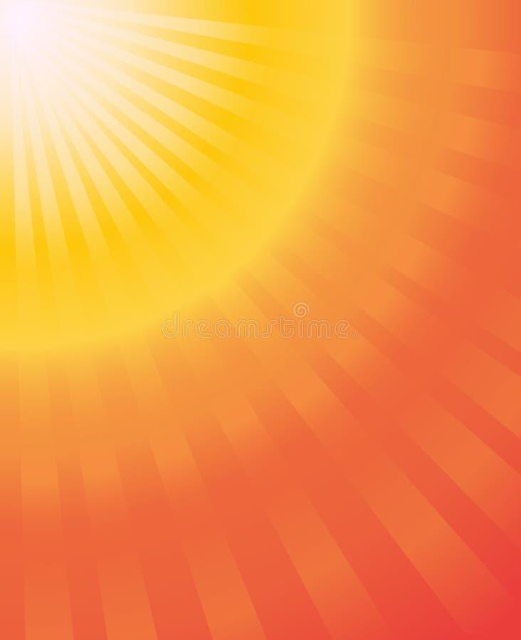 太阳光芒热的夏天橙黄色gradien传染媒介抽象backgro 免版税图库摄影
