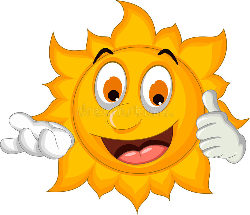 太阳动画片赞许 向量例证