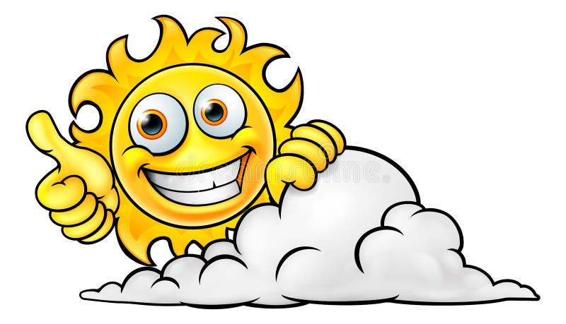 太阳动画片吉祥人和云彩 向量例证