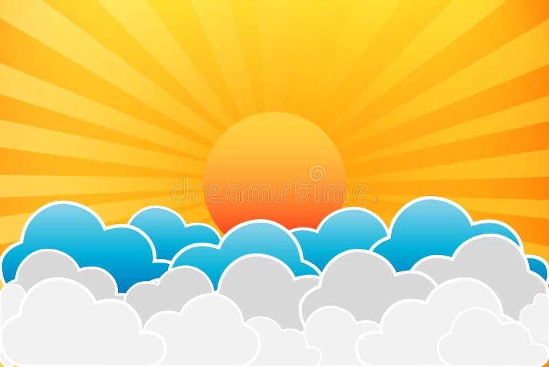太阳和云彩 皇族释放例证