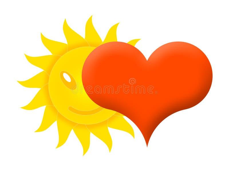 太阳和心脏 向量例证