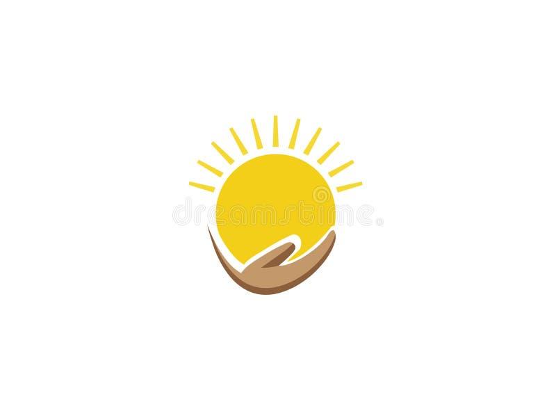 太阳和手商标设计例证的 向量例证