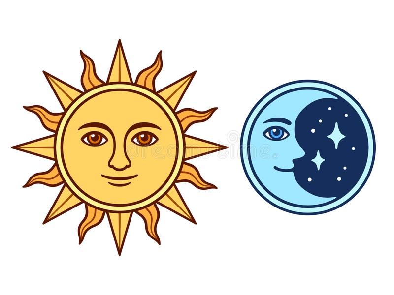 太阳和月亮与面孔 向量例证