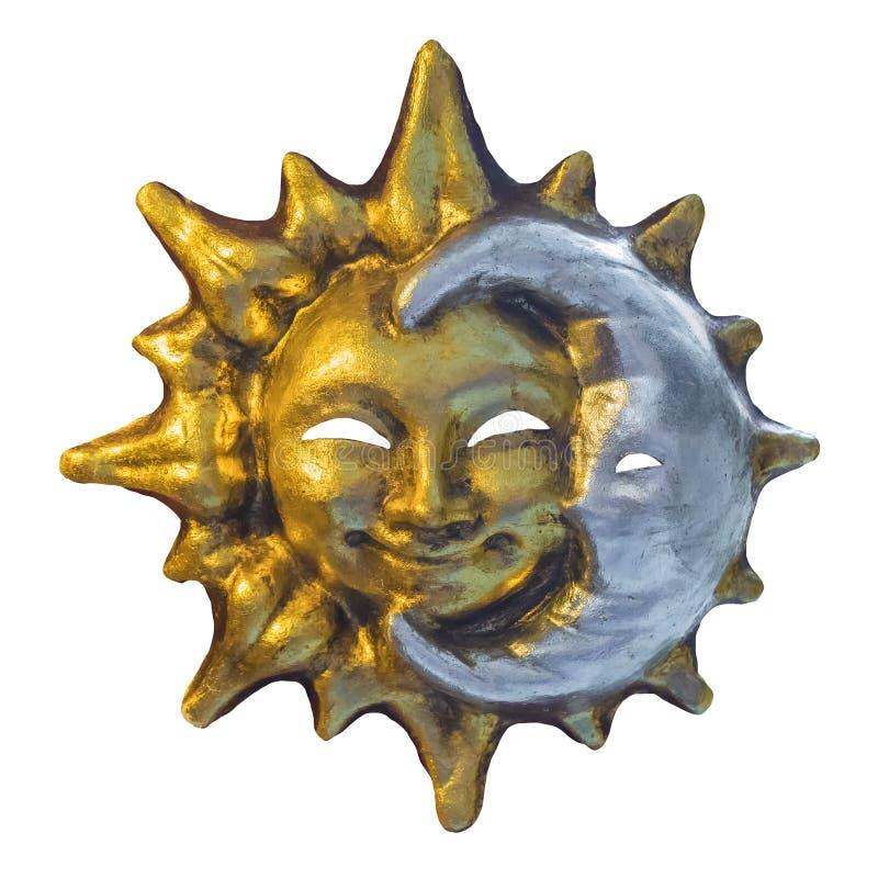太阳和月亮威尼斯式面具  免版税库存照片