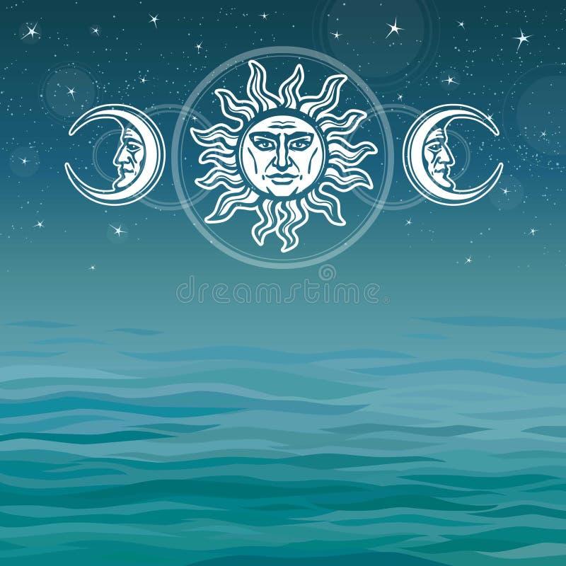 太阳和月亮的图象与人面 古老符号 向量例证