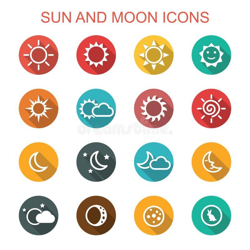 太阳和月亮长的阴影象 向量例证