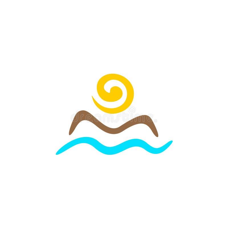 太阳和海商标 库存例证