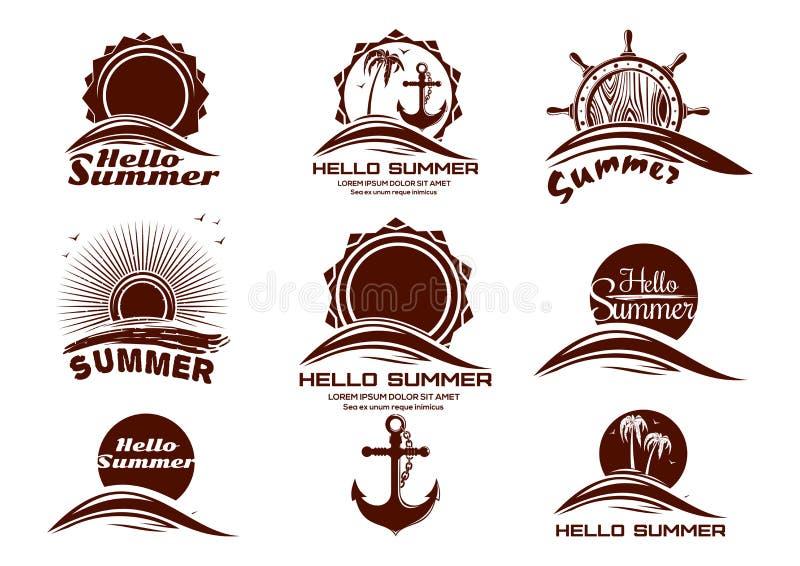 太阳和海被设置的商标象 库存例证