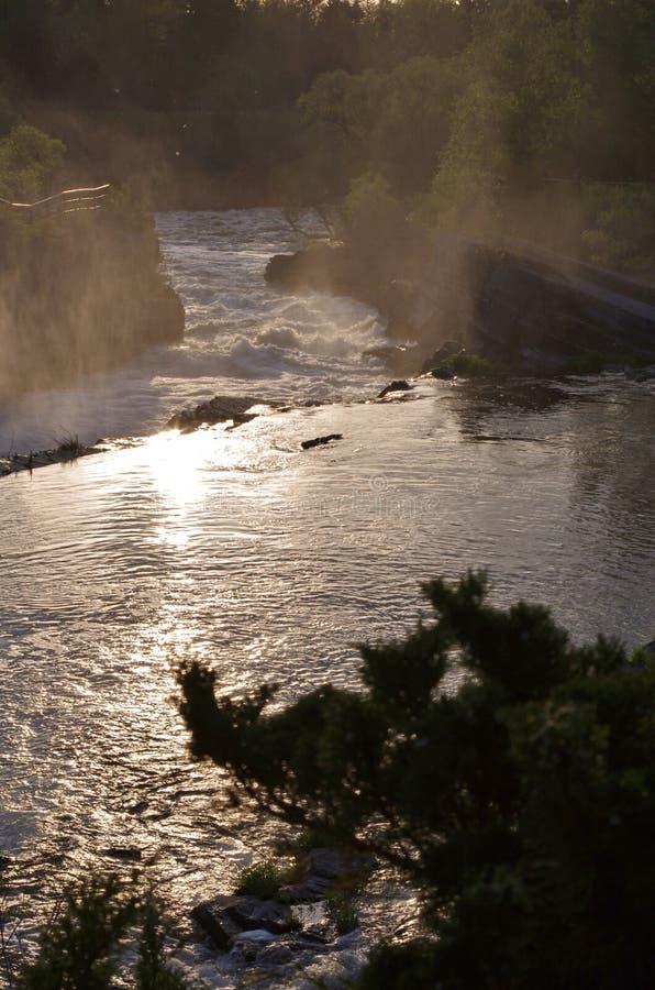 太阳和薄雾在水 库存图片