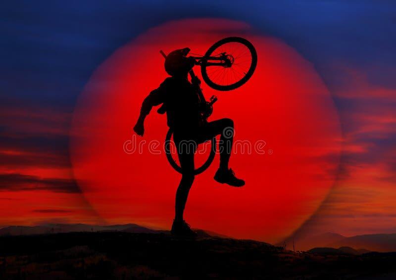 太阳和骑自行车者 库存图片