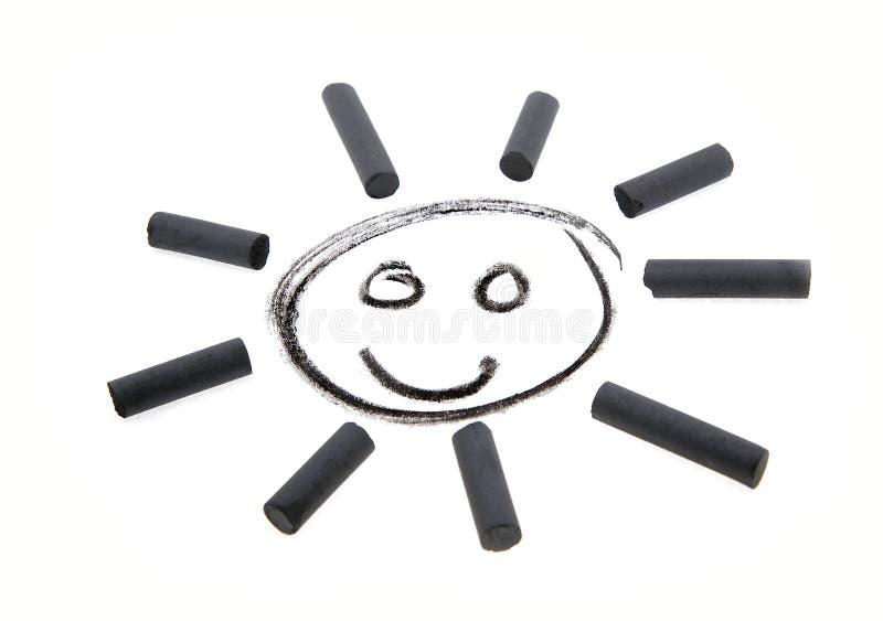 太阳图画煤炭微笑 库存图片