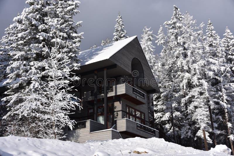太阳在斯诺伊白鲑山区度假村瑞士山中的牧人小屋打破 免版税库存照片