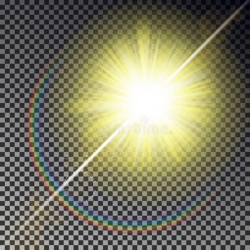 太阳在方格的背景隔绝的光芒光 透明焕发黄色阳光天空作用 现实主义者 库存例证