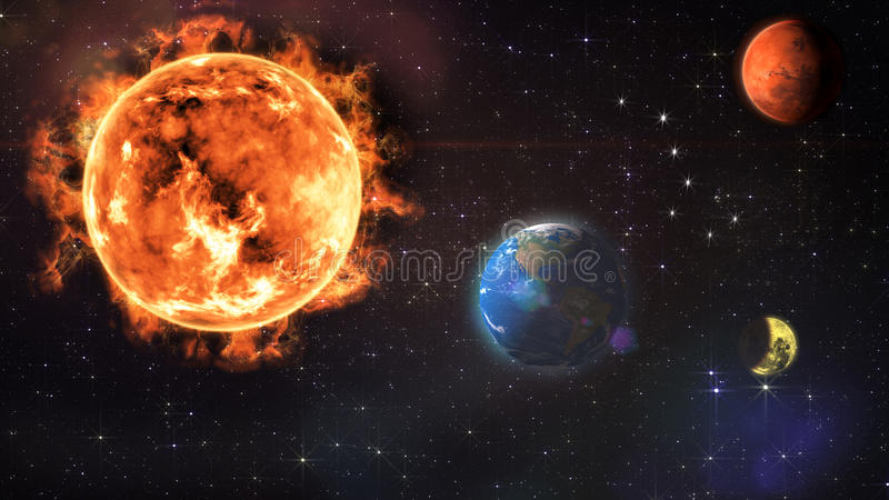 太阳地球月亮蚀和火星 库存例证