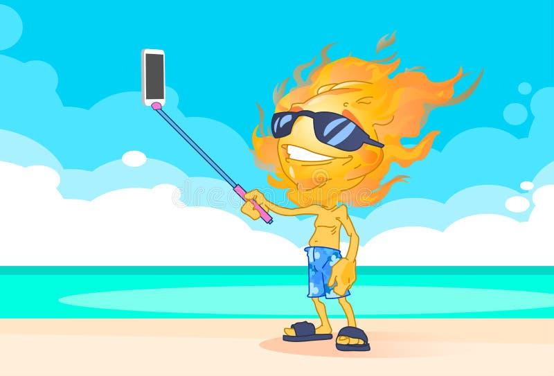太阳夏天男孩火顶头采取的Selfie在海滩的巧妙的电话棍子 向量例证