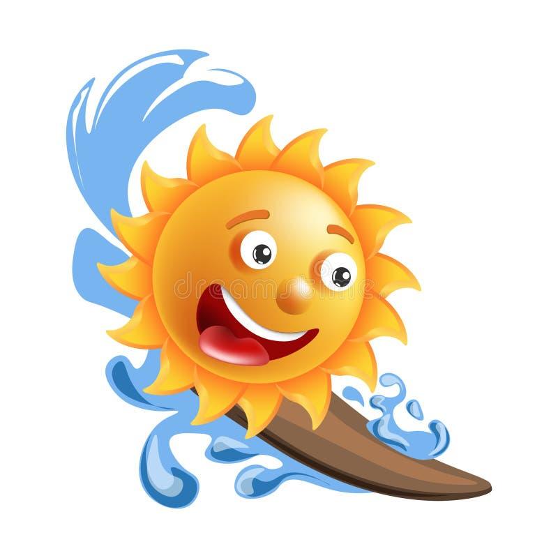 太阳微笑动画片意思号夏天海洋冲浪的emoji面孔传染媒介象 向量例证