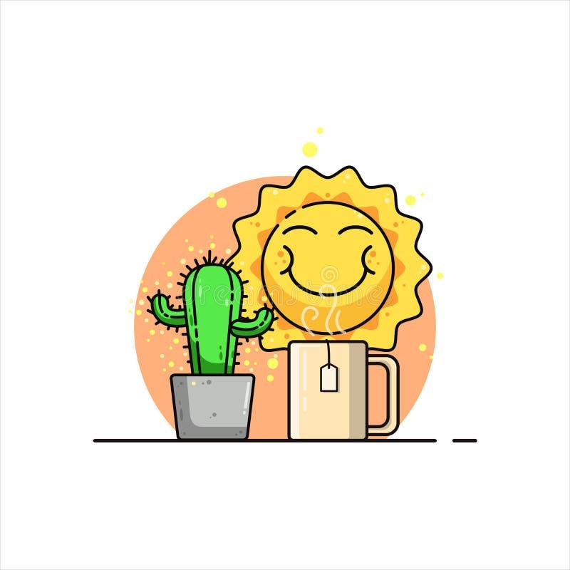 太阳微笑的插图 皇族释放例证