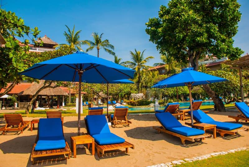 太阳懒人和遮阳伞在海滩 巴厘岛,印度尼西亚,丹戎Benoa 努沙Dua 免版税库存照片