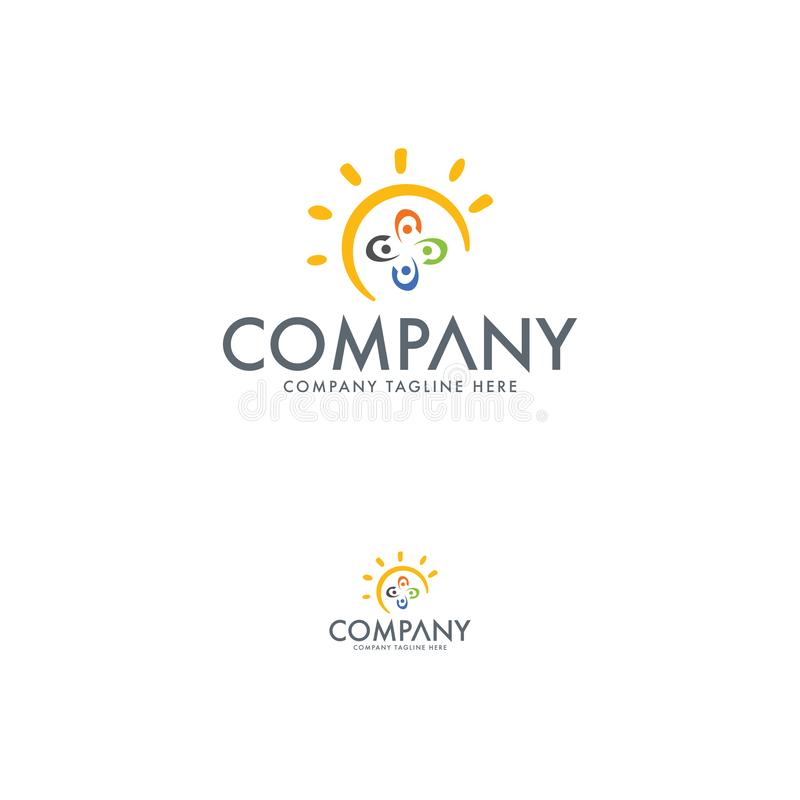 太阳或教育商标设计模板 皇族释放例证