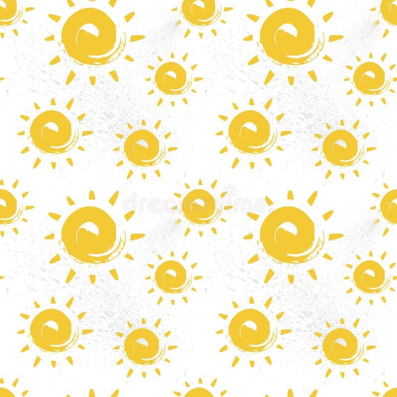 太阳无缝的样式五颜六色的夏天装饰品背景样式 皇族释放例证