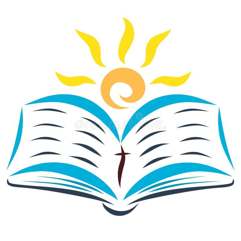 太阳是光亮的与开放圣经 库存例证