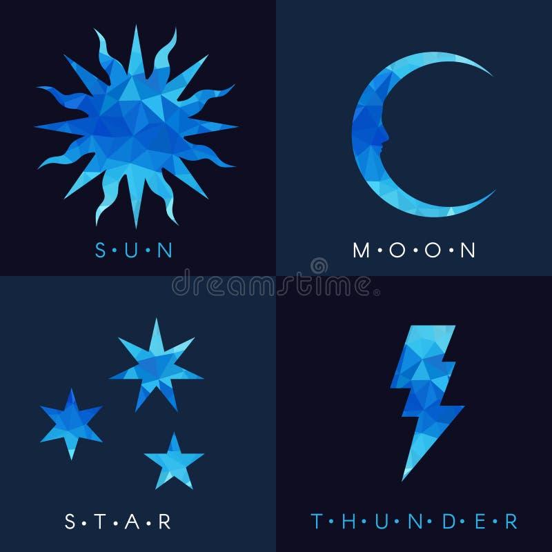 太阳月亮星和雷蓝色低多传染媒介布景 向量例证